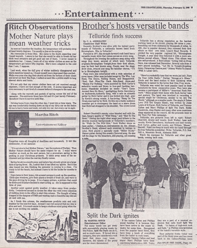 Telluride finds success -  Review - Chanticleer - 13 February 1986