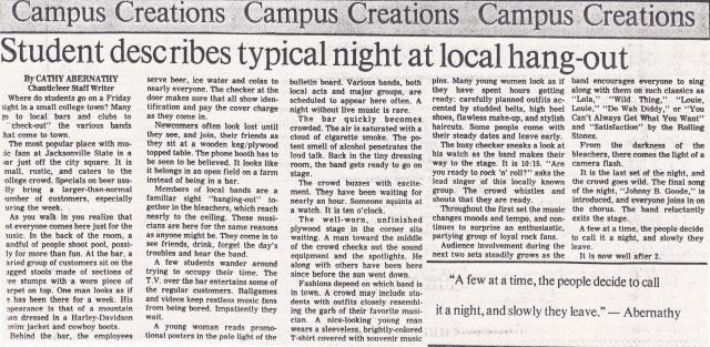 Typical Night at a local hangout - circa 1988